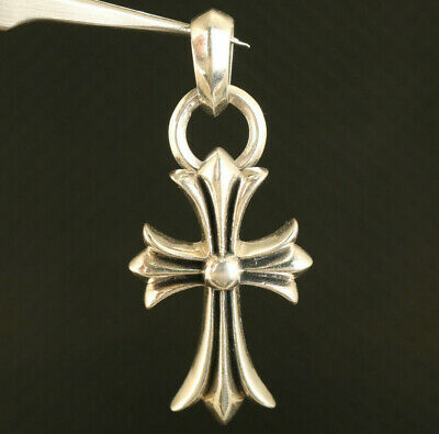 Chinese 100% 925 silver hand carved cruciate flower statue pendant elegant Art