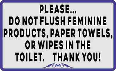 5x3 Blue Border Do Not Flush Feminine Products Paper Towels or Wipes Sticker