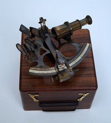 """Antique nautical 5"""" sextant working navigation with wooden box marine gift item"""