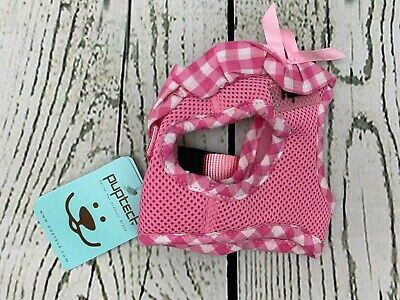 PUPTECK Checkered Frills Soft Mesh Dog Vest Harness Puppy Padded Pet Harnesse