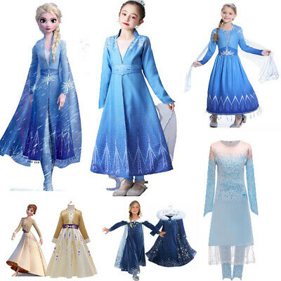 2019 New Release Girls Frozen 2 Elsa Anna Costume Party Birthday Dress 2-12Years