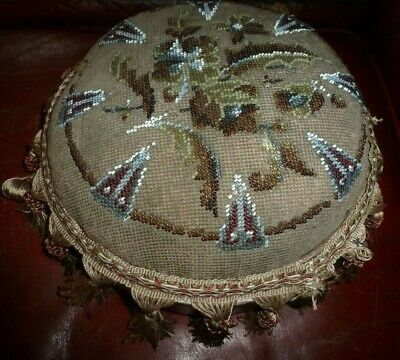 Antique beaded wooden ladies footstool good condition