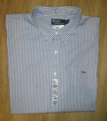 New Polo by Ralph Lauren Blue Stripe Cotton Long/S Shirt 2XL