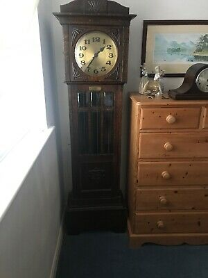 Antique Stripped Pine Longcase Grandfather Clock With plain Brass Face.