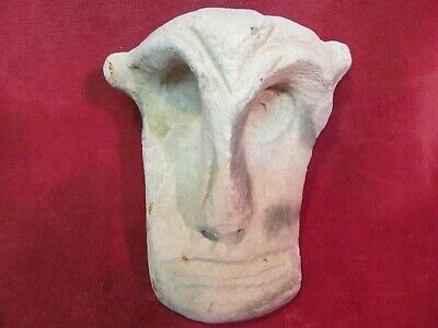 """4 1/4"""" Long Antique Carved Sandstone Head Face With Sunken Eyes Unknown Origin"""