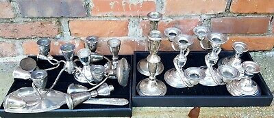Huge Lot Weighted Sterling Silver Candlestick Candelabra Mirror Scrap or Not Lot