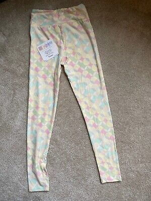 LuLaRoe Leggings Girls Tween Pastel Yellow Pink Purple Green Circles