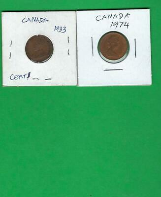 Canada  1933 - 1974 ~ 2 X Old Coins Lot # 5 (*-*) Free Shipping