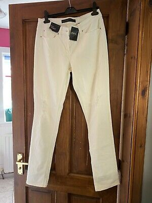 Next Relaxed Skinny Cream Distressed Jeans Size 10 L BNWT