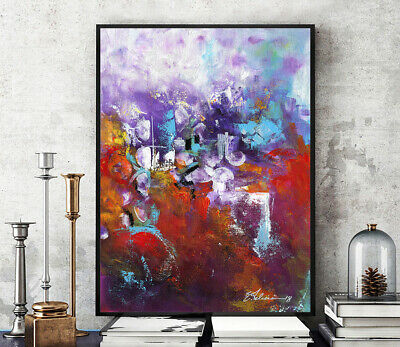 Prints, Posters, Original Painting Red Purple Acrylic Abstract Modern Modernism