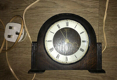 "Smiths Sectric Electric Clock 7"" Wooden Art Deco"