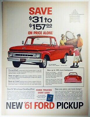 1961 FORD TRUCK 2 PAGE PRINT ADVERTISEMENT ECONOLINE PICKUPS RANCHERO F600