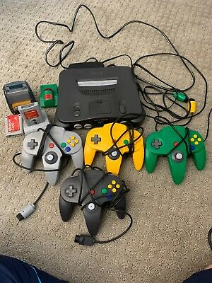 Nintendo N64 System Console with 4 OEM Controllers Transfer Pak Memory Tremorpak