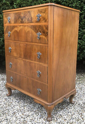 Superb Large Walnut Art Deco We Deliver  Chest Of Drawers  Amazing Veneers