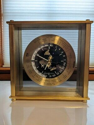 Vtg Seiko World Clock GMT Mantle Desk Airplane Second Hand Brushed Brass qqz885f