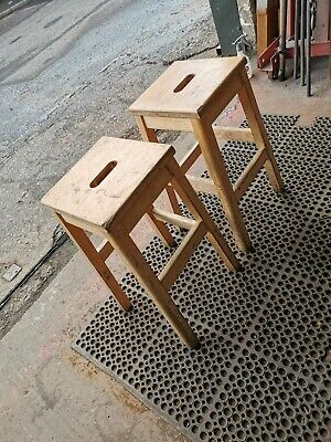 Pair of Vintage Wooden School Lab stools