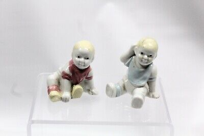 Vintage Doll Baby Figurines Ceramic  - Lot Of 2 Hand-painted