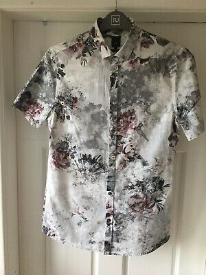 Mens/Boys RIVER ISLAND  Size Small Slim Fit Floral Short Sleeved Shirt