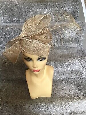Jute/Champagne Fascinator Ideal For Races, Wedding, Garden Party, Etc