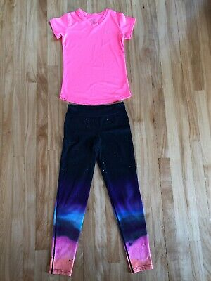 Champion C9 Youth Girls Size L (10-12) Neon Pink Pattern Leggings Outfit