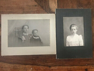 2 Late 1800's Early 1900's Black And White Creepy Photos Vintage Pictures