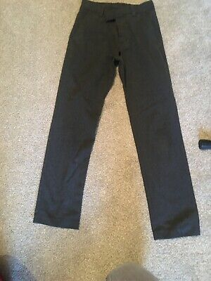 Next Boys Slim Fit Pull On Grey School Trousers Age 10