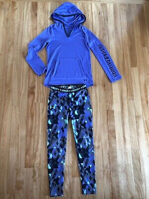 Under Armour Youth Girl Size Medium 10-12 Purple Long Sleeve Top Leggings Outfit