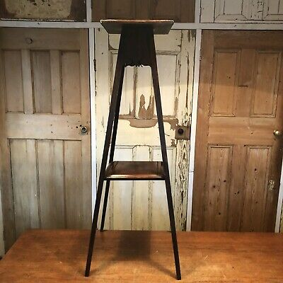 Vintage Oak Arts And Crafts Torchere Plant Stand Jardiniere Display Stand