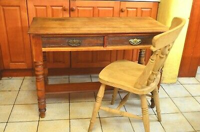 Vintage Pine / Satin Wood Farmhouse Table / Desk with Two Drawers
