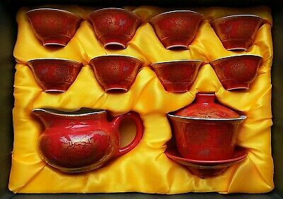 Chinese tea set Kung Fu porcelain Gaiwan Orange Gold Lotus Creamer Small Cups
