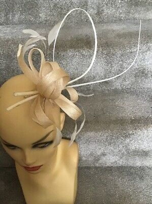 Beige Fascinator With Comb Ideal For Races, Wedding, Etc