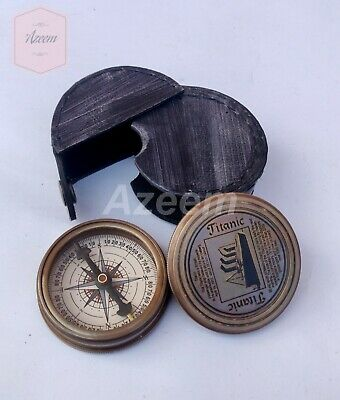 """2"""" Brass Finish Nautical Titanic Style Compass Sailor Compass with leather case"""