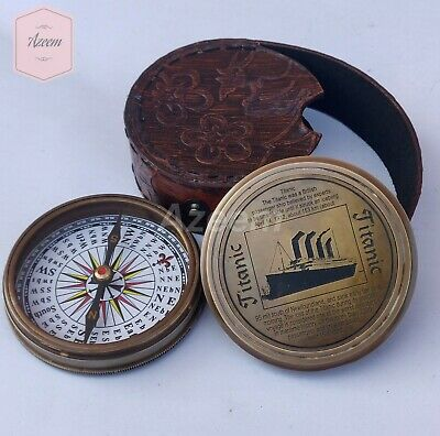 """3"""" Brass Finish Nautical Titanic Style Compass Sailor Compass with leather case"""