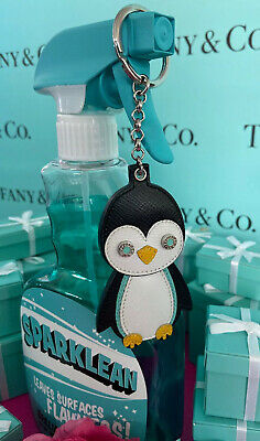 Tiffany&Co Penguin Leather Keychain Keyring Purse Charm Black White W Pouch New