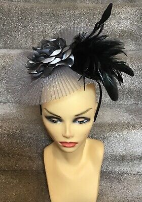 Grey/Black Fascinator With Headband Ideal For Races, Wedding, Etc
