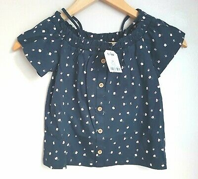 BNWT NEXT Navy Blue Pink Floral Bardot Button Top 5 Years 4-5 Post Next Day
