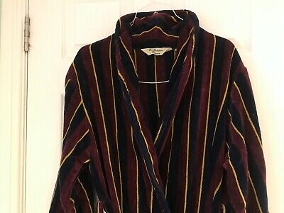 Mens Dressing Gown Vintage Austin Reed, Luxury Supersoft Burgundy Blue, Towel