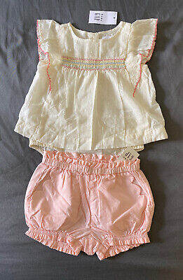 Baby Girl 3-6 Month Baby Gap Off White Swiss Dot Double Bodysuit & Pink Shorts