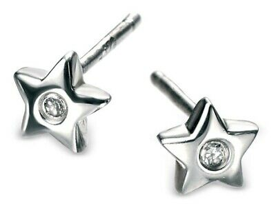 Sterling Silver Children's Diamond Star Stud Earrings