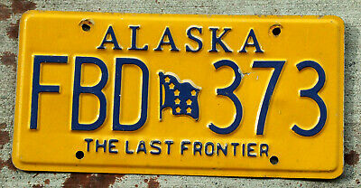 "2010 Embossed Serif Lettered ""Alaska"" License Plate with the Big Dipper Flag"