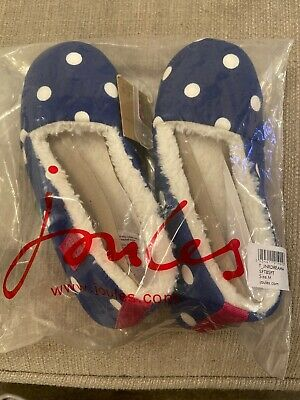 Joules Girls Blue Polka Dot Slippers Medium Brand New With Tags