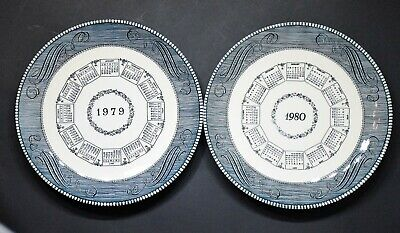 """Royal (USA) Currier and Ives Blue """"1979"""", """"1980"""" and """"1981"""" Calendar Plates"""