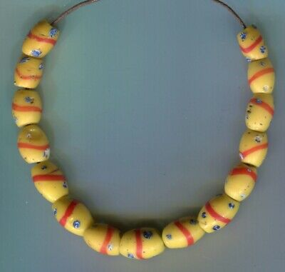 African Trade beads Vintage Venetian glass beads nice yellow old fancy beads