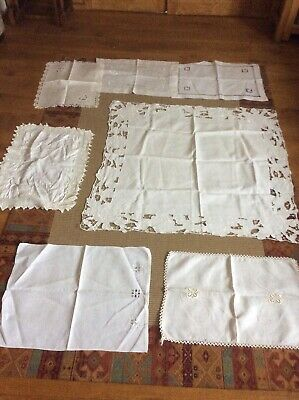 Job Lot Vintage Linen Tablecloth,and Traycloths Various Designs & Sizes