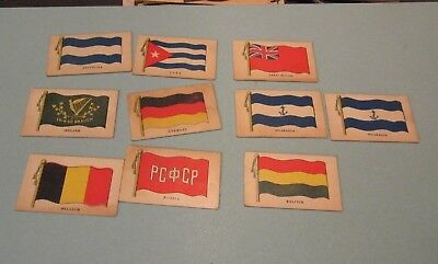 1930's Wilbur Suchard Chocolate Company 10 Flag Card Lot Ireland Germany Russia