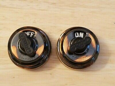 2 vintage Perkins copper flash rotary light switches. New old stock