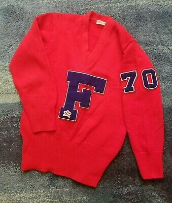 "Vintage Baseball Varsity Letterman Sweater ""F"" Red #70 Vneck Pullover Wool"