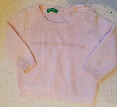 UNITED COLORS OF BENETTON Soft Pink Baby Girls Knit Jumper 3-6m EU62 VGC