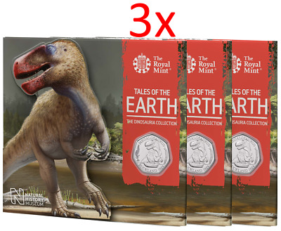 3x 2020 Megalosaurus Dinosauria BUNC UK 50p Dino Coin Royal Mint Sealed Pack RM2