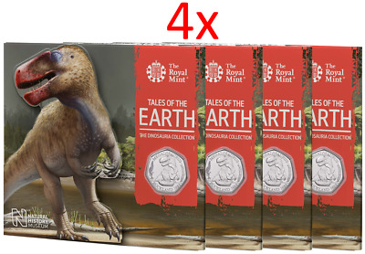 4x 2020 Megalosaurus Dinosauria BUNC UK 50p Dino Coin Royal Mint Sealed Pack RM1